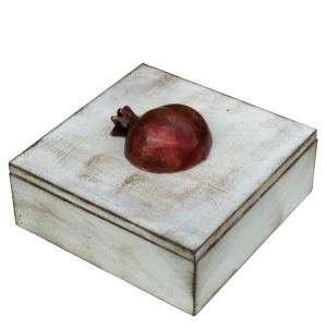 Pomegranate Box Square White Tumbled